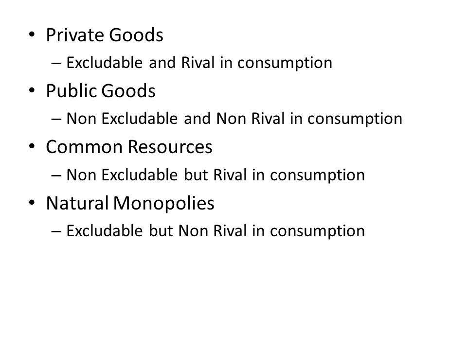 Private Goods Public Goods Common Resources Natural Monopolies