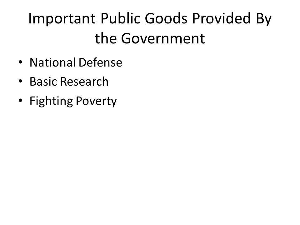 Important Public Goods Provided By the Government