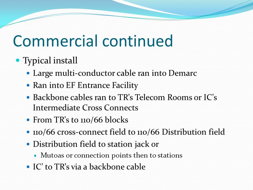 Commercial continued Typical install