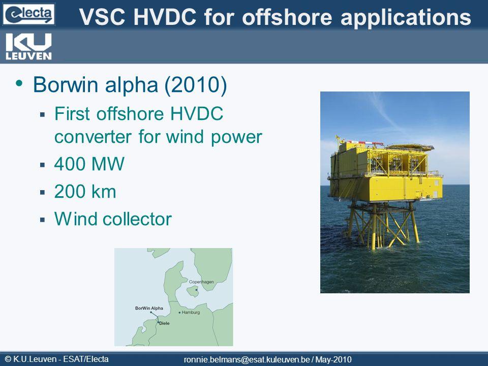 VSC HVDC for offshore applications