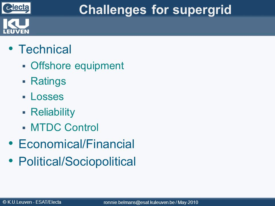 Challenges for supergrid