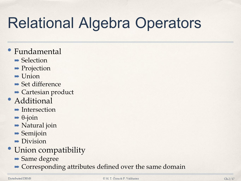 Relational Algebra Operators