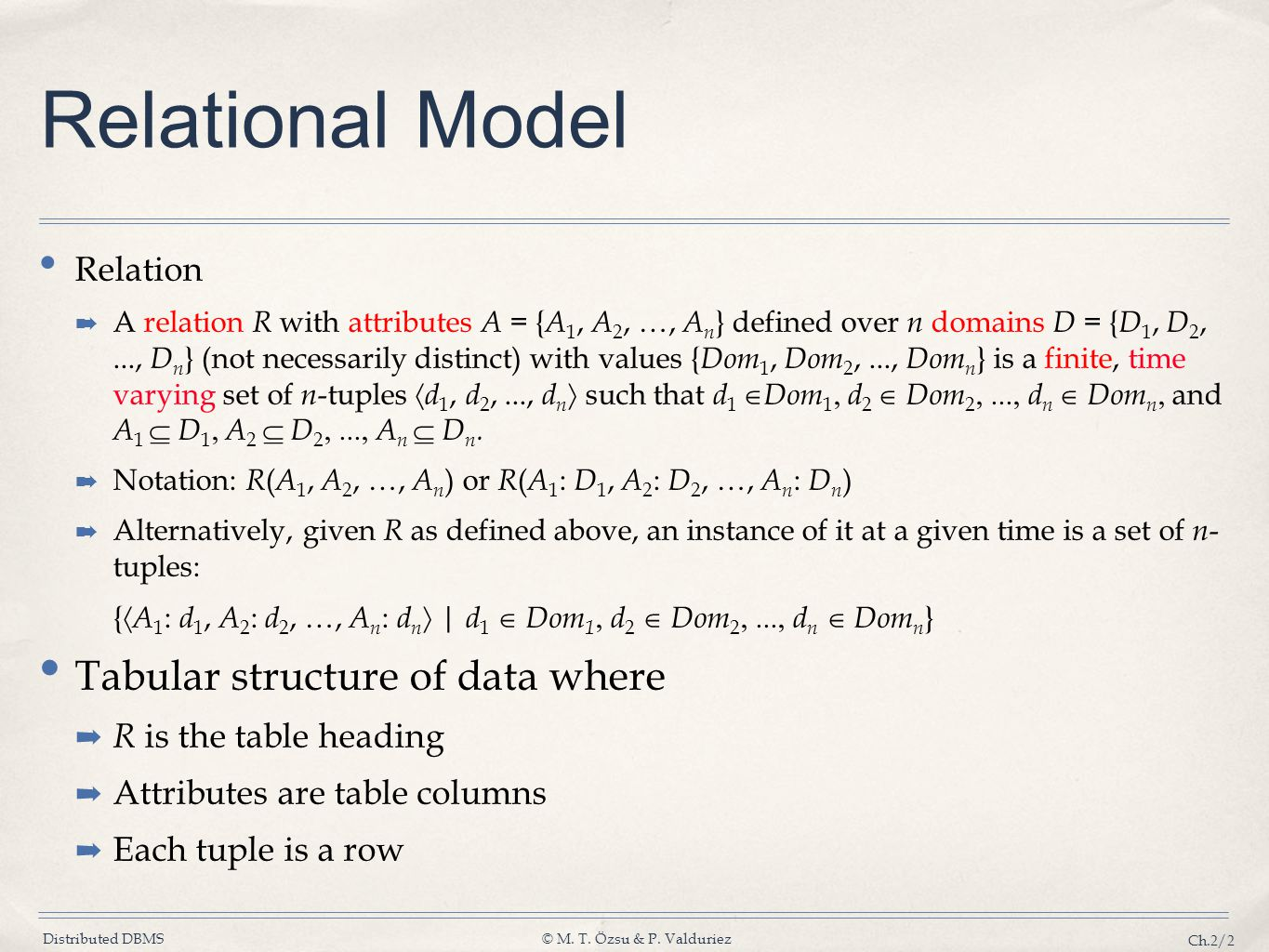 Relational Model Tabular structure of data where Relation