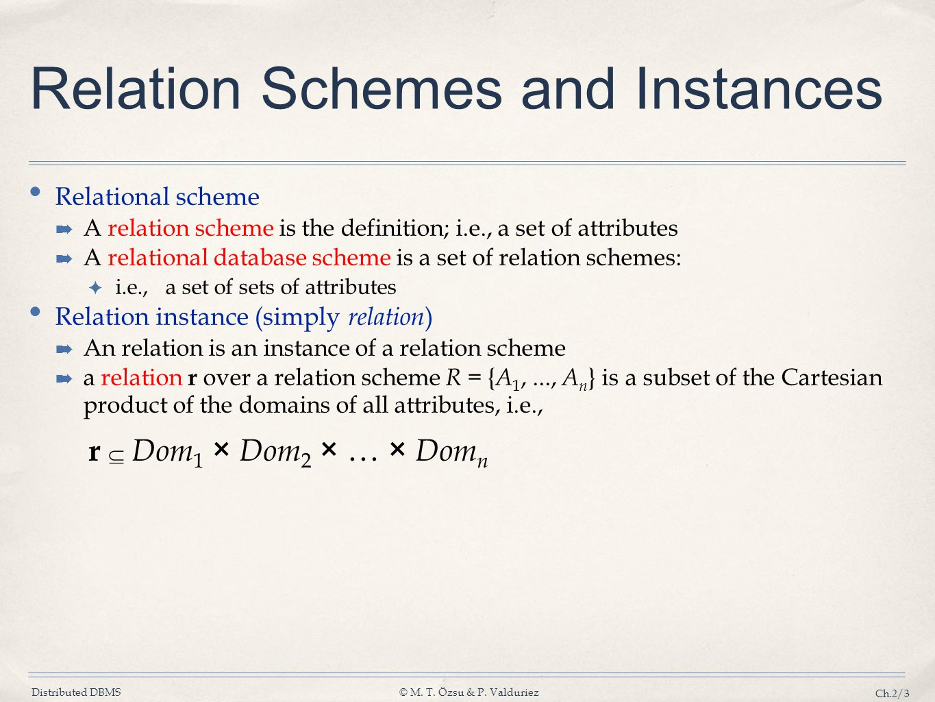 Relation Schemes and Instances