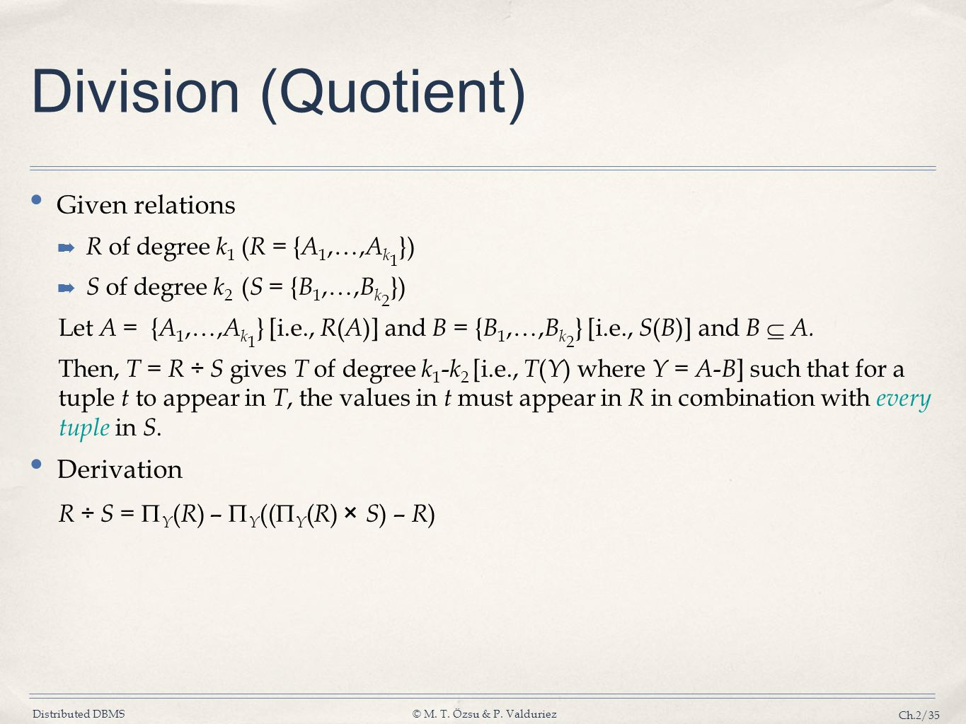 Division (Quotient) Given relations Derivation