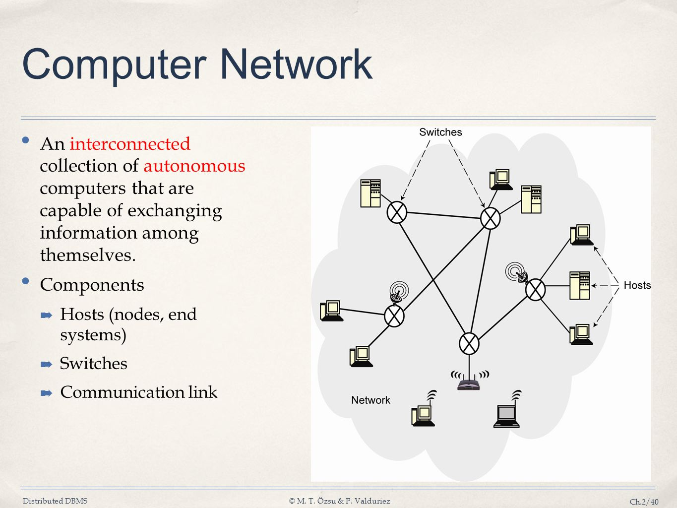 Computer Network An interconnected collection of autonomous computers that are capable of exchanging information among themselves.