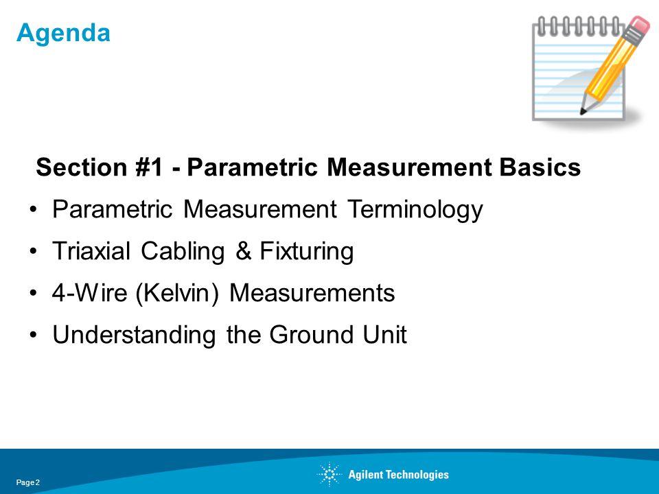 Agenda Section #1 - Parametric Measurement Basics. Parametric Measurement Terminology. Triaxial Cabling & Fixturing.