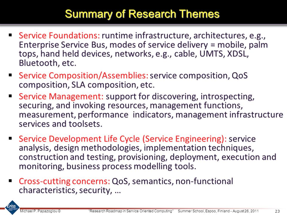 Summary of Research Themes