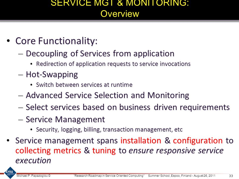 SERVICE MGT & MONITORING: Overview