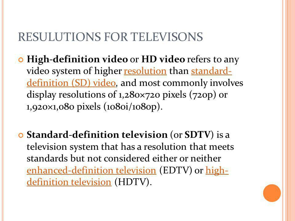 RESULUTIONS FOR TELEVISONS