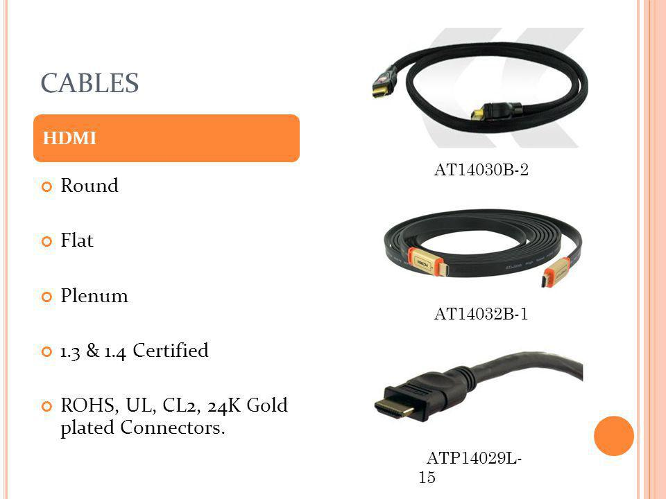 CABLES Round Flat Plenum 1.3 & 1.4 Certified