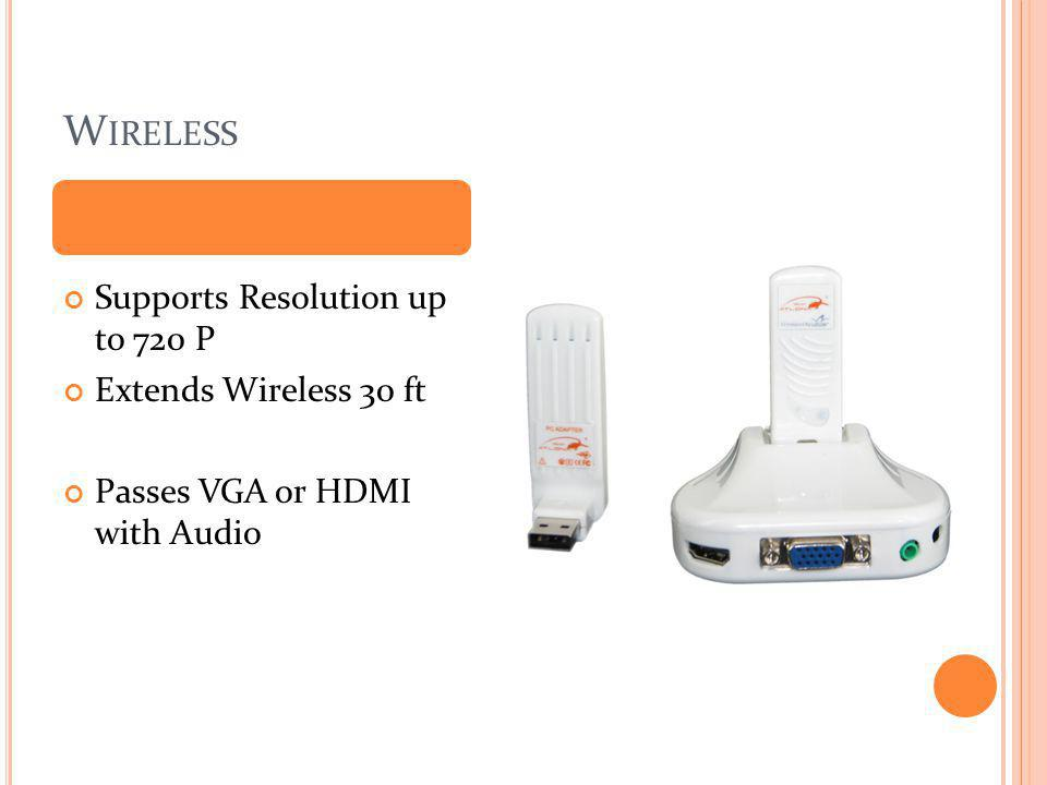 Wireless Supports Resolution up to 720 P Extends Wireless 30 ft