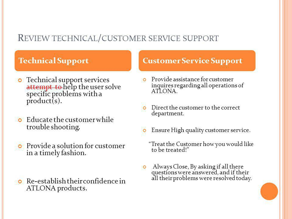 Review technical/customer service support