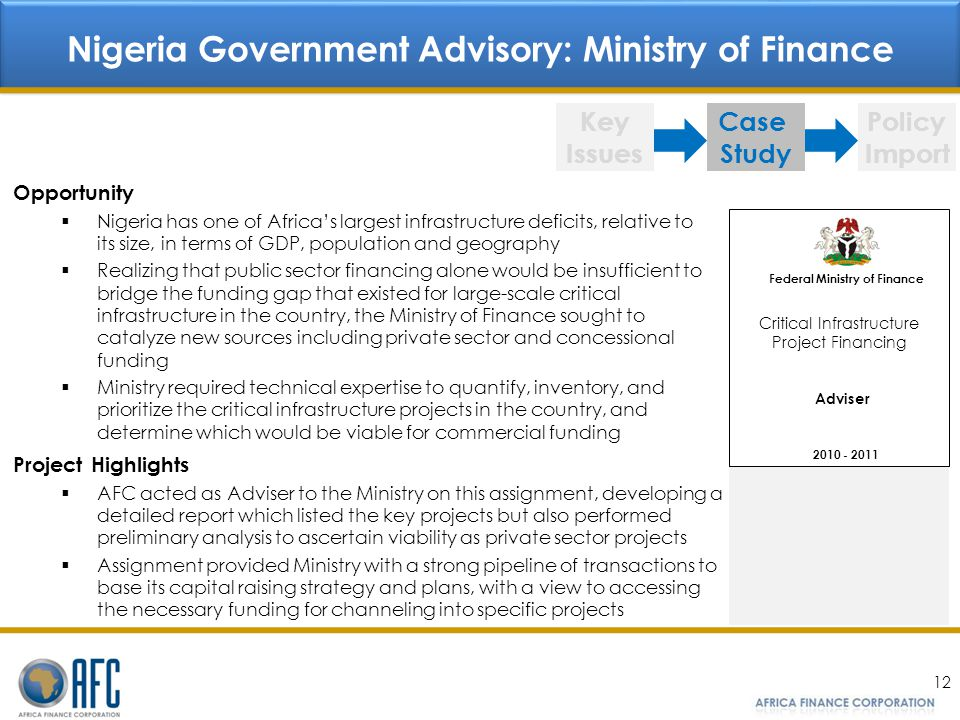 Nigeria Government Advisory: Ministry of Finance