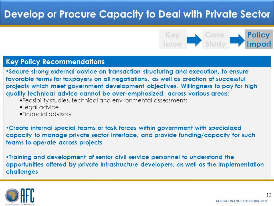 Develop or Procure Capacity to Deal with Private Sector