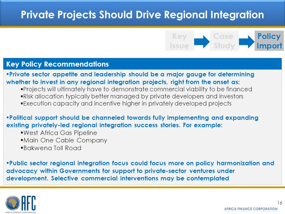 Private Projects Should Drive Regional Integration