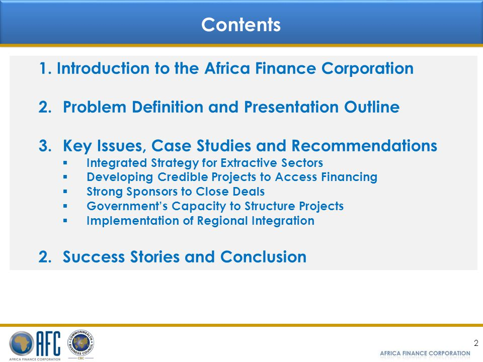 Contents Introduction to the Africa Finance Corporation