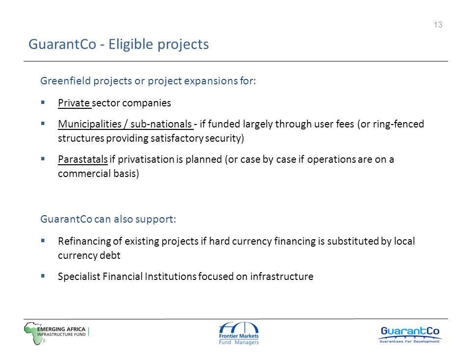 GuarantCo - Eligible projects