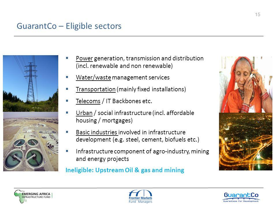 GuarantCo – Eligible sectors