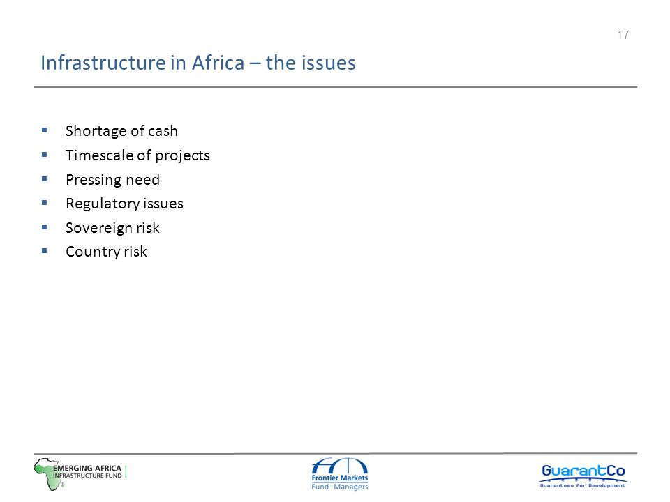Infrastructure in Africa – the issues