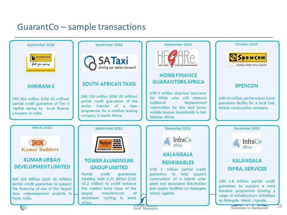 GuarantCo – sample transactions