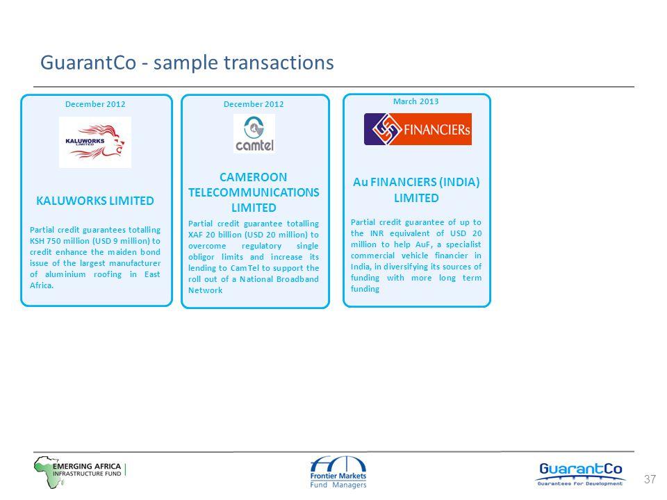 GuarantCo - sample transactions