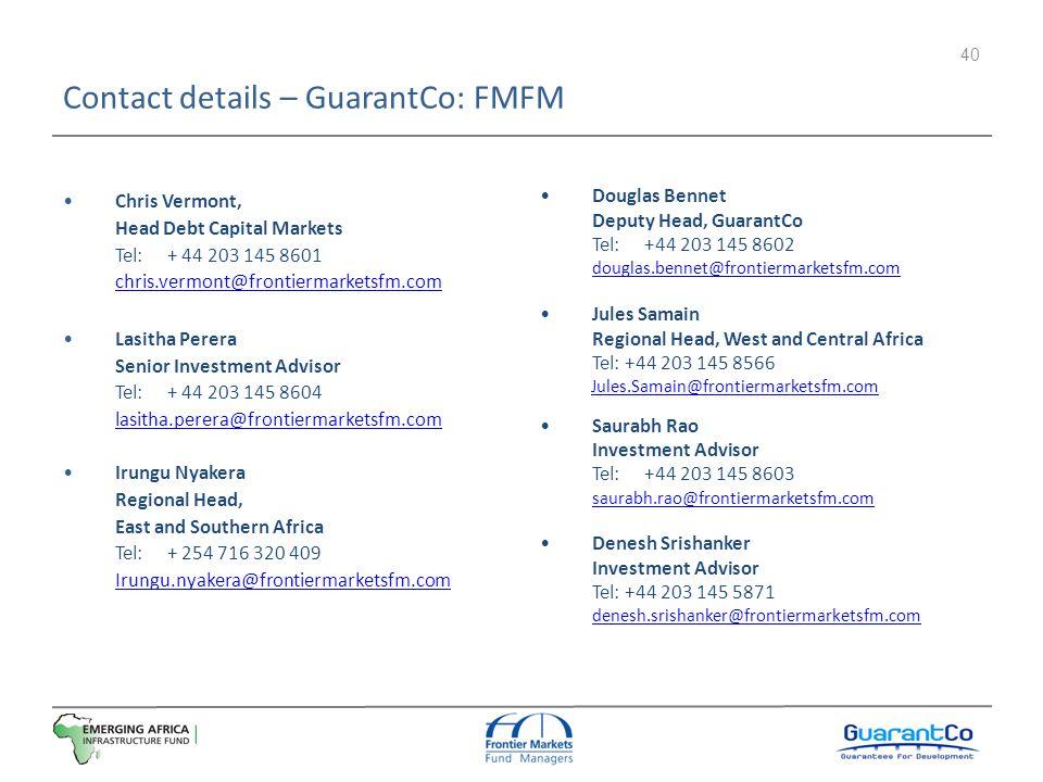 Contact details – GuarantCo: FMFM