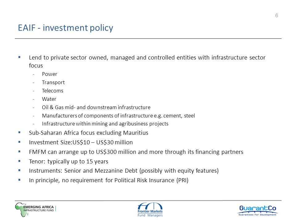 EAIF - investment policy