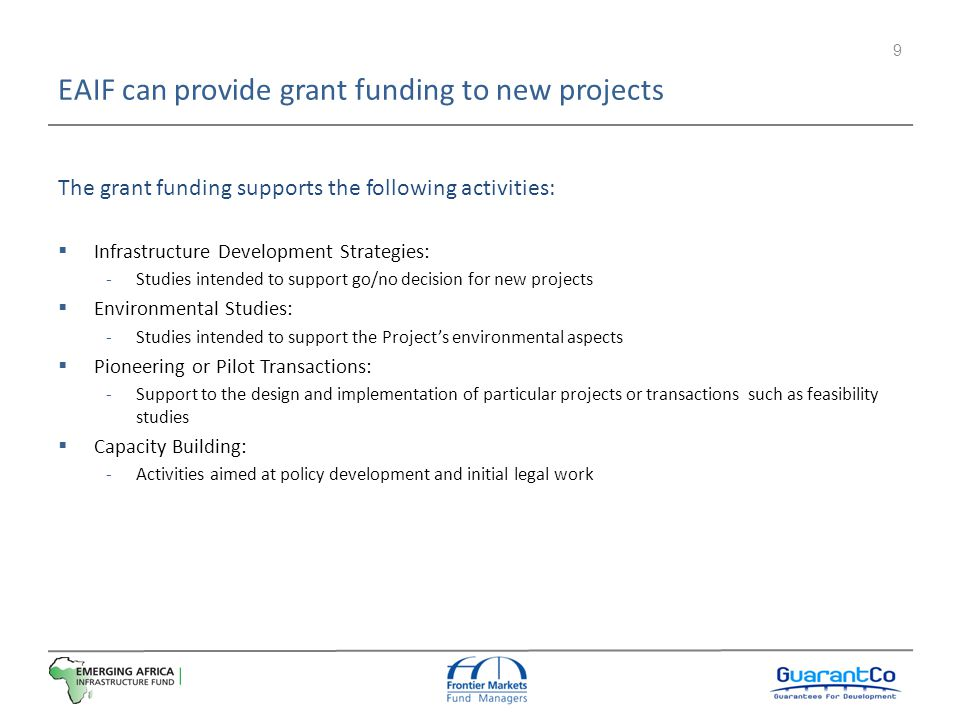 EAIF can provide grant funding to new projects
