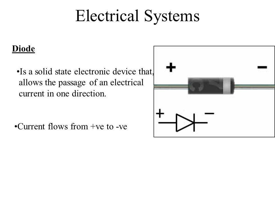 Electrical Systems Diode Is a solid state electronic device that,