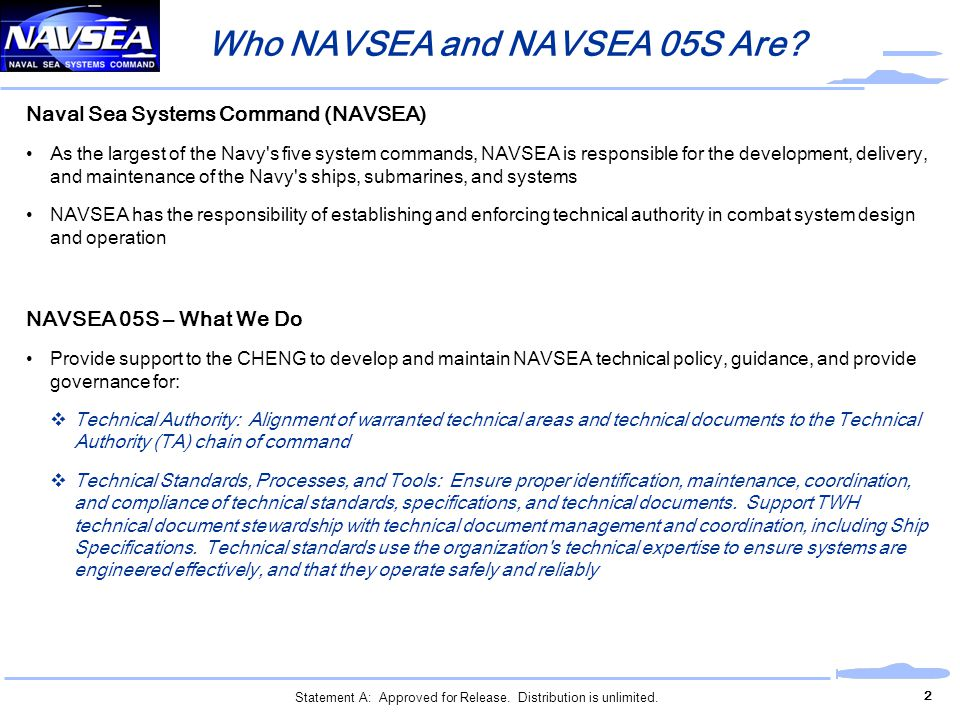 Who NAVSEA and NAVSEA 05S Are