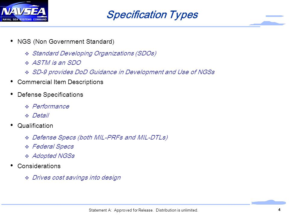 Specification Types NGS (Non Government Standard)