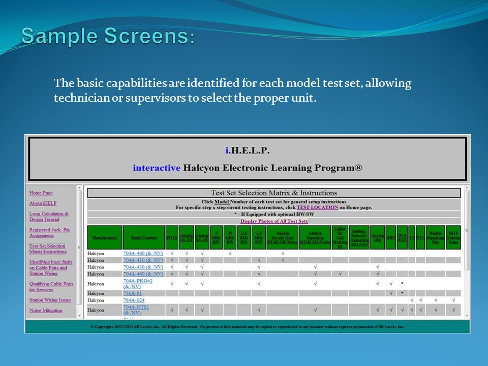 Sample Screens: The basic capabilities are identified for each model test set, allowing.