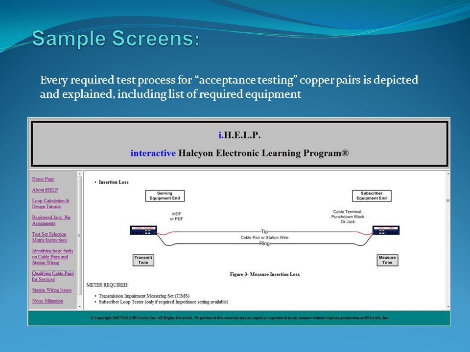Sample Screens: Every required test process for acceptance testing copper pairs is depicted.