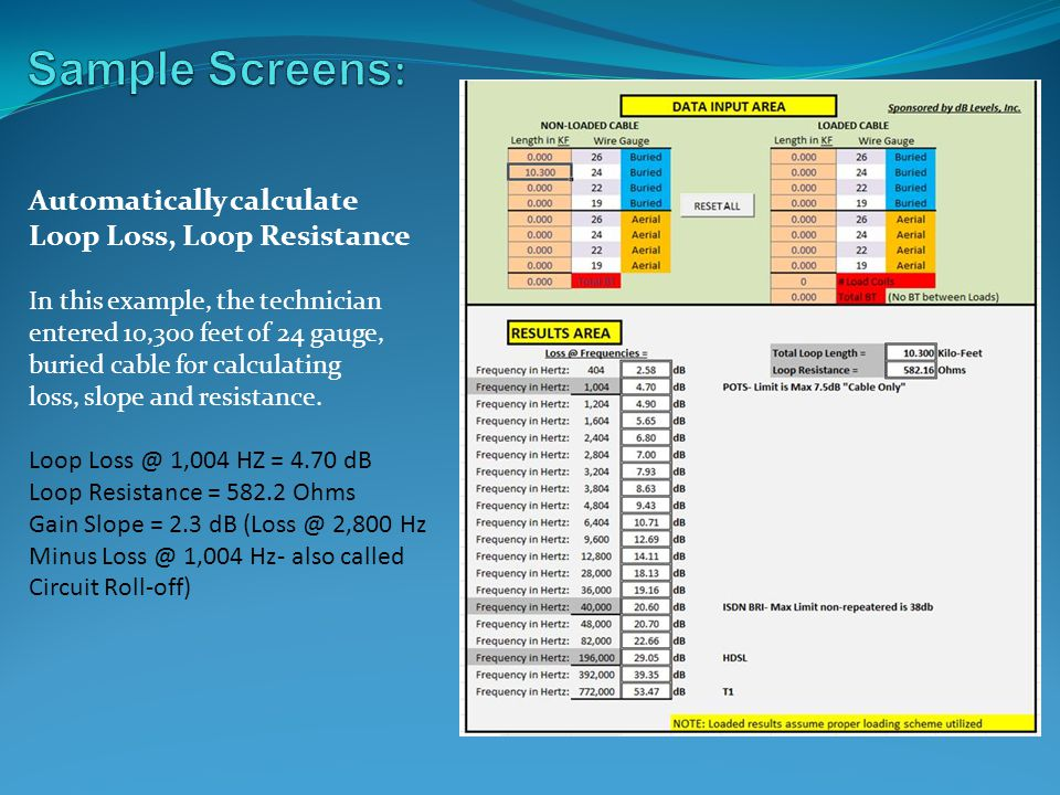 Sample Screens: Automatically calculate Loop Loss, Loop Resistance
