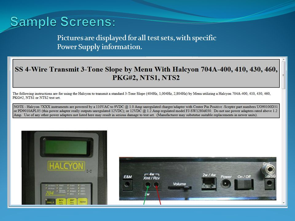 Sample Screens: Pictures are displayed for all test sets, with specific Power Supply information.