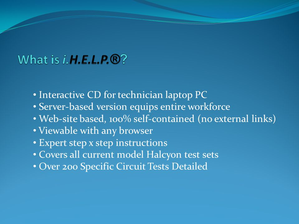 What is i.H.E.L.P.® Interactive CD for technician laptop PC