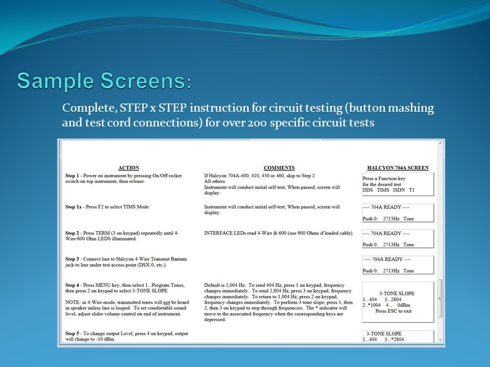 Sample Screens: Complete, STEP x STEP instruction for circuit testing (button mashing and test cord connections) for over 200 specific circuit tests.
