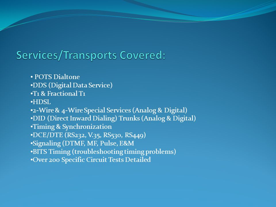 Services/Transports Covered: