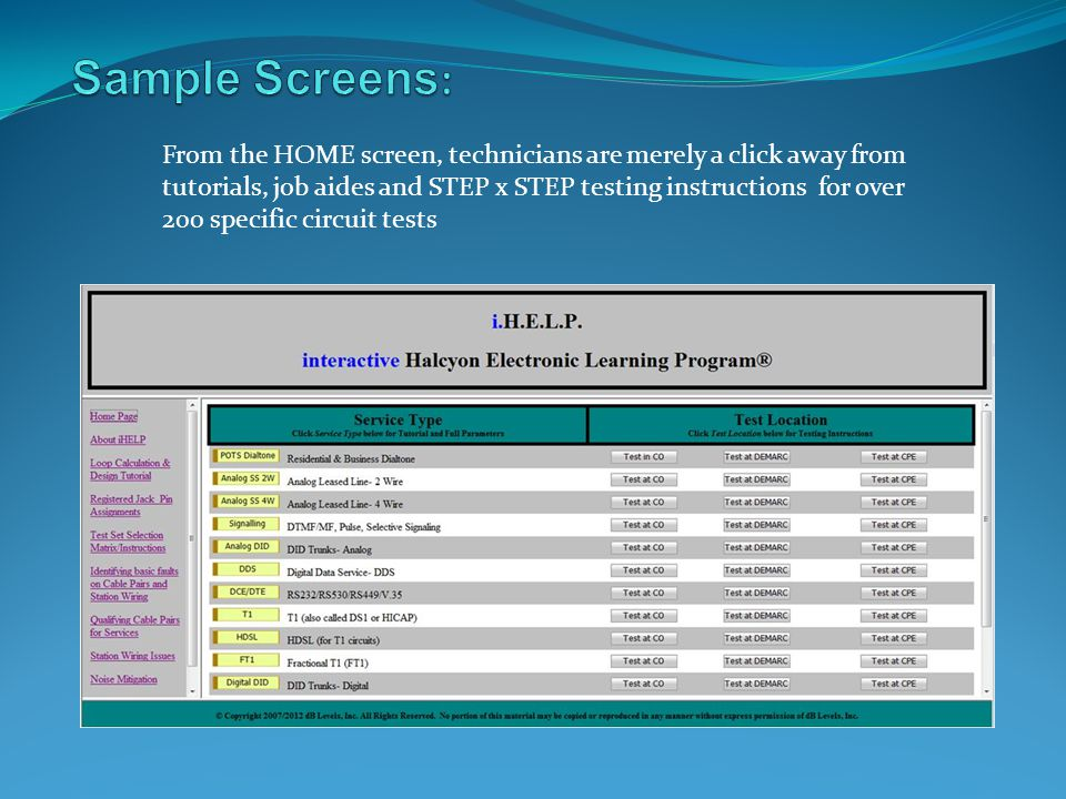 Sample Screens: From the HOME screen, technicians are merely a click away from. tutorials, job aides and STEP x STEP testing instructions for over.