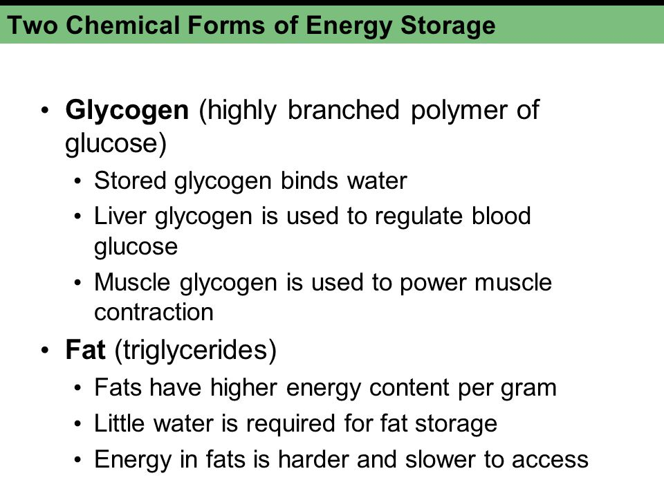Two Chemical Forms of Energy Storage