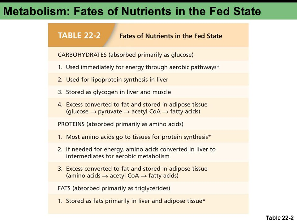 Metabolism: Fates of Nutrients in the Fed State