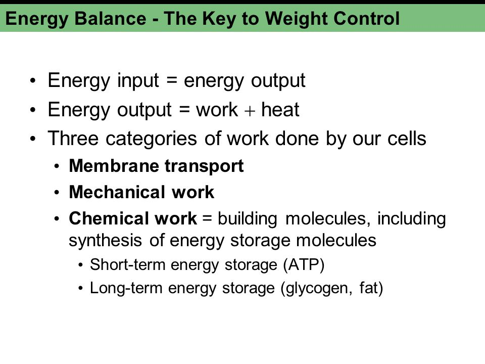 Energy Balance - The Key to Weight Control