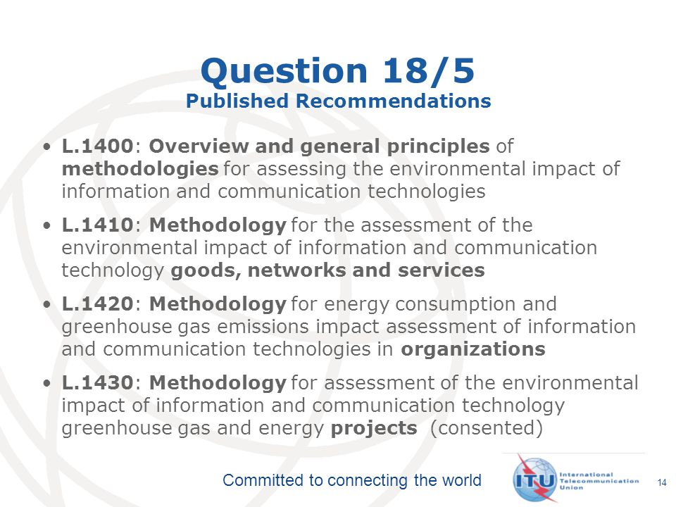 Question 18/5 Published Recommendations