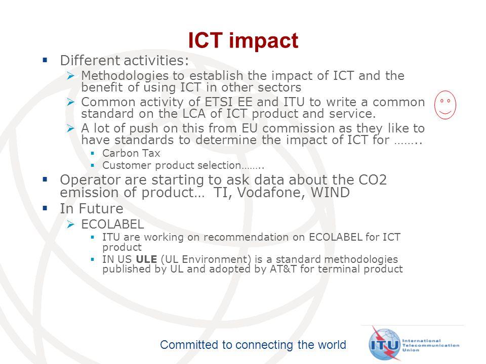 ICT impact Different activities: