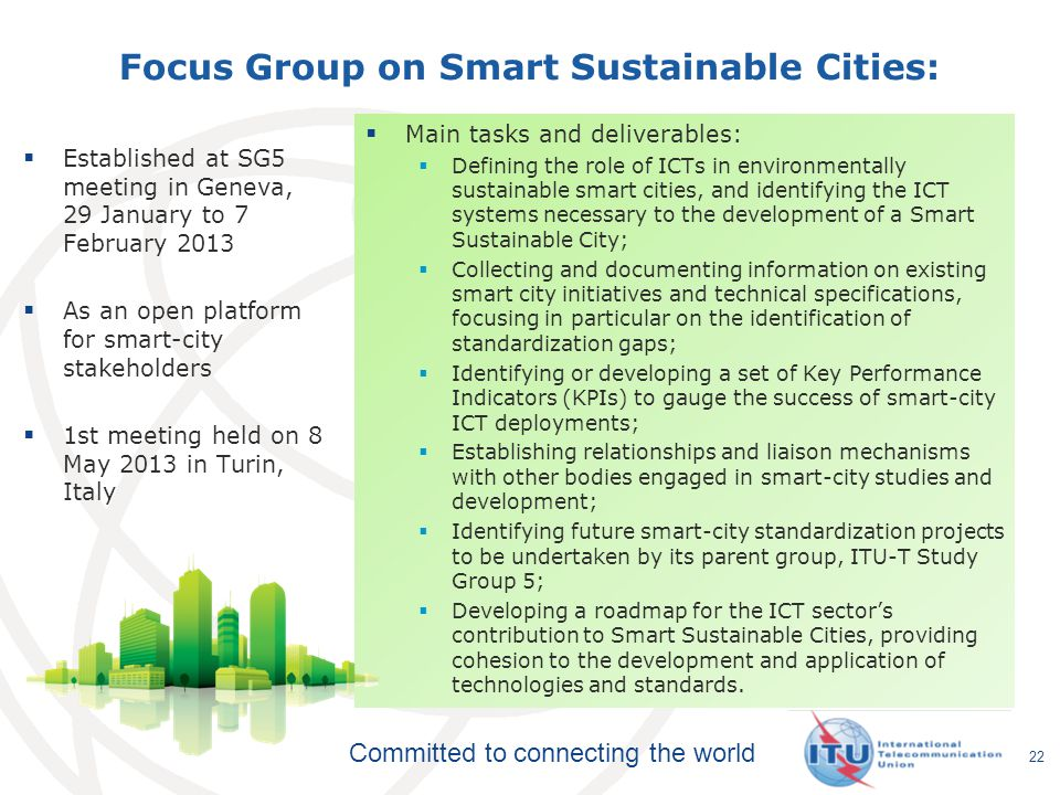 Focus Group on Smart Sustainable Cities: