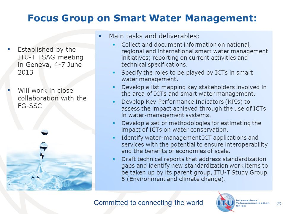 Focus Group on Smart Water Management: