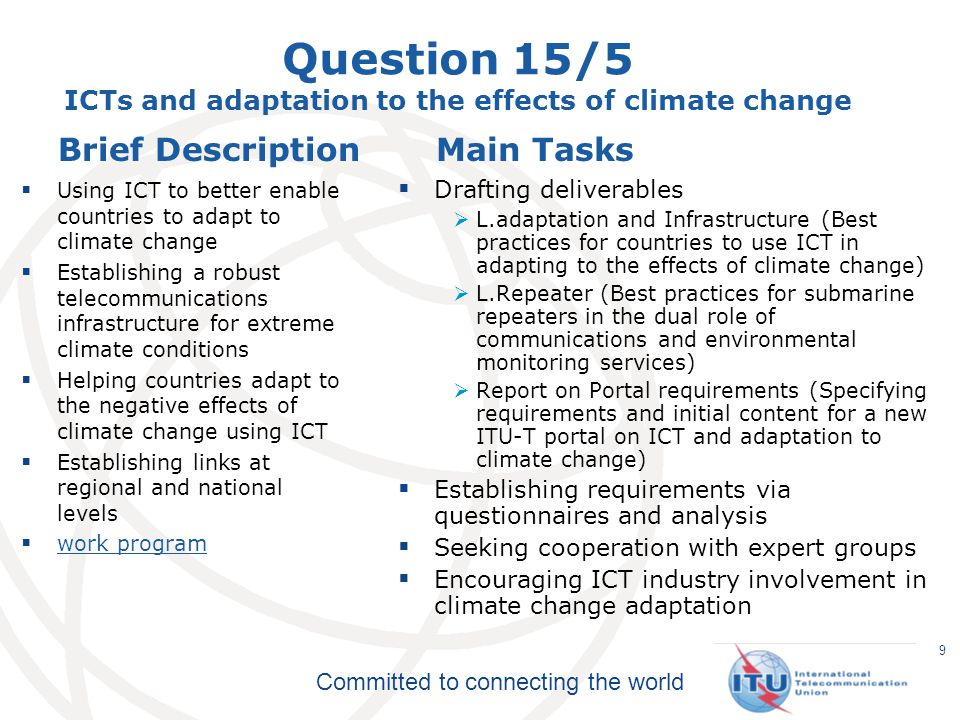Question 15/5 ICTs and adaptation to the effects of climate change