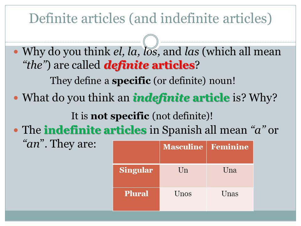 Definite articles (and indefinite articles)