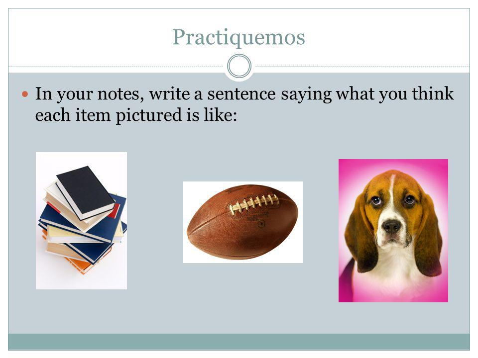 Practiquemos In your notes, write a sentence saying what you think each item pictured is like: